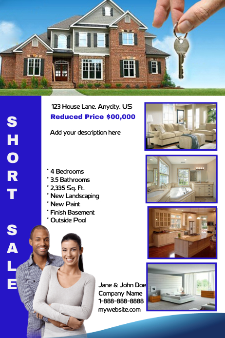 real estate short sale flyer template