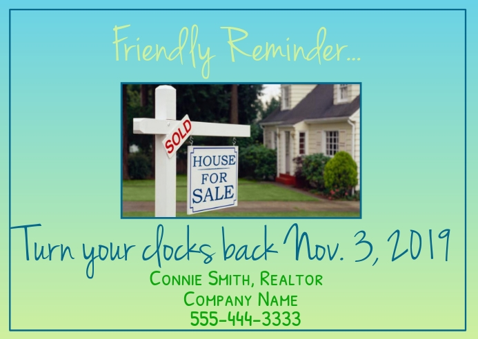 Real Estate Time Change Postcard Cartolina template