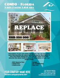 Real estate flyer with abstract background - Letter size