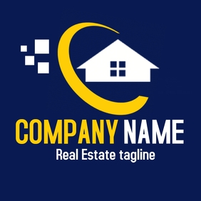 Real estate yellow and white logo template