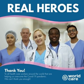 Real Heroes Thank You Doctors Covid-19 Message Instagram template