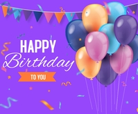 Realistic Birthday Background Mellemstort rektangel template