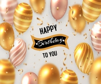 Realistic Birthday Background Medium Rectangle template