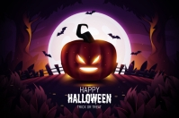 Realistic halloween background 标签 template