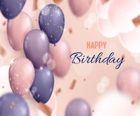 Realistic Happy Birthday Balloons Background Medium Rectangle template
