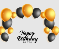Realistic happy birthday card with golden and Retângulo grande template