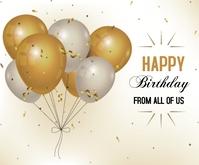 Realistic Happy Birthday Middelgrote rechthoek template