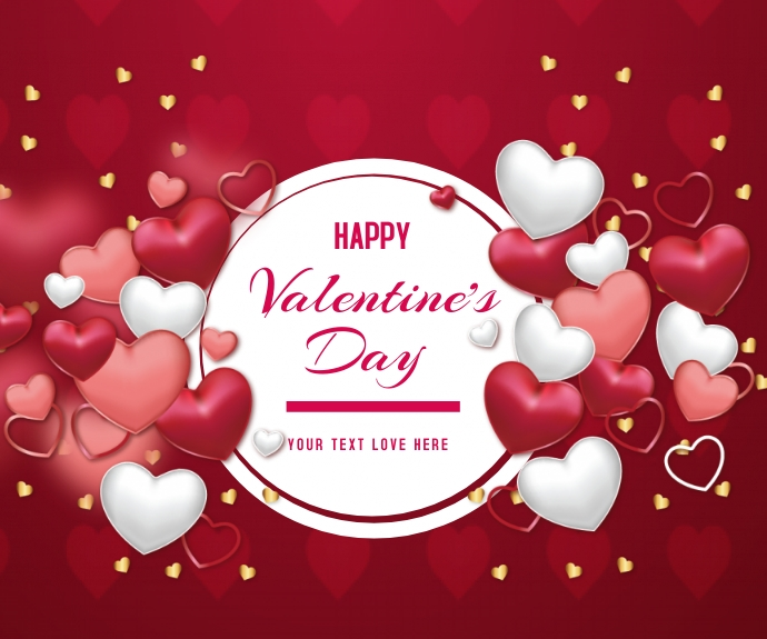 Realistic Happy Valentine's day Persegi Panjang Sedang template