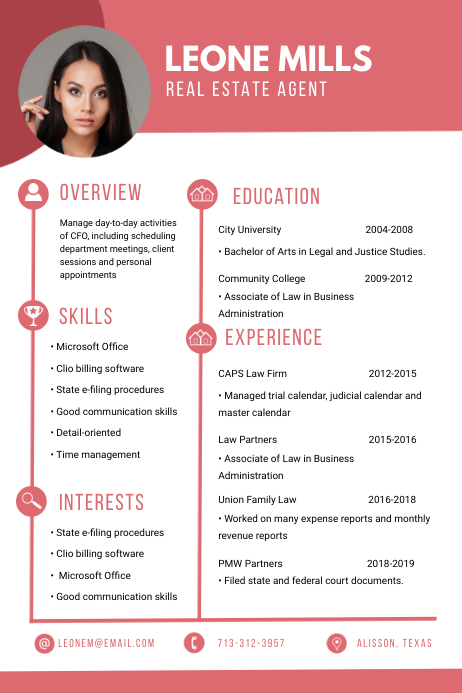 Realtor Professional CV Resume Red Affiche template