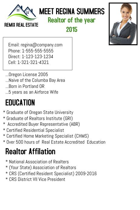 realtor resume template
