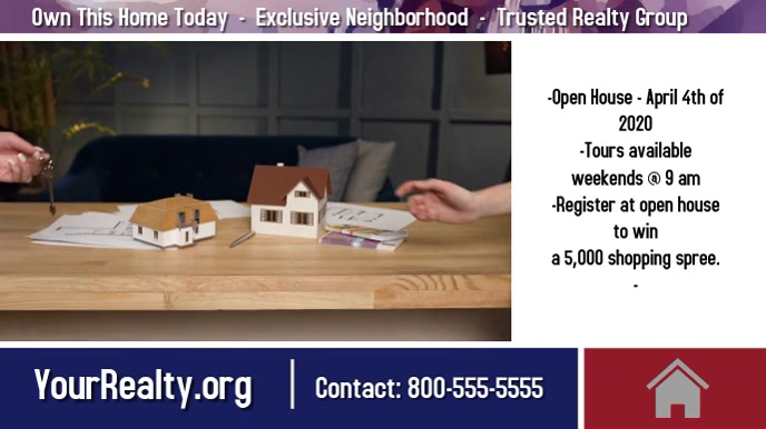 Realty video/realty postcard/Home for sale Digitalt display (16:9) template
