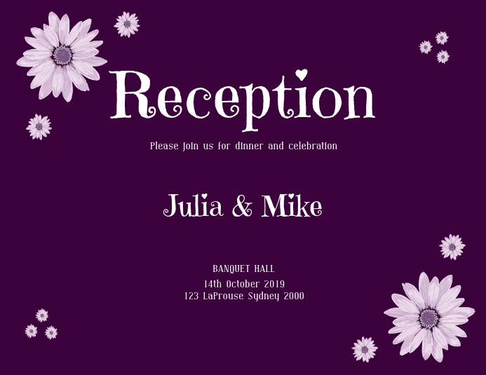 Reception Invitation Flyer Template Postermywall