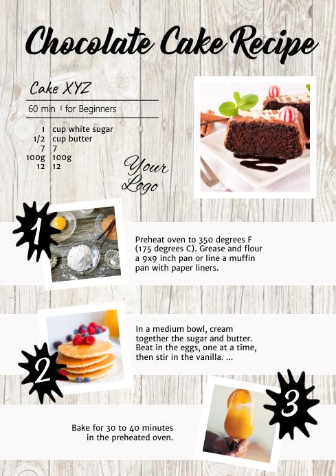 Recipe Chocolate Cake Food Tutorial Manual Ad A4 template