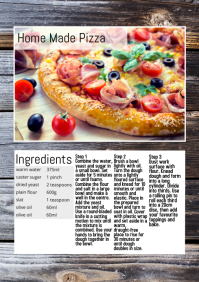 recipe food magazine blogging wood table A4 template