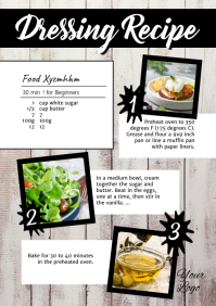Recipe Healthy Food Blog Magazine Cooking Ad A4 template