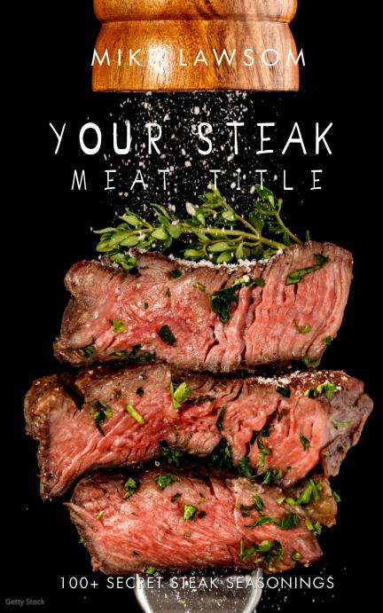 Recipe Steak Food BBQ Digital Book Cover Обложка Kindle template