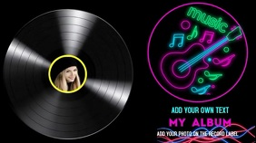 Record cover Label Digital Display (16:9) template