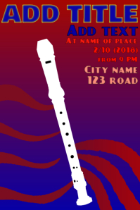 recorder flute instrument - playing music poster template
