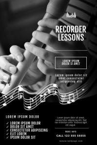 Recorder flute Lessons Flyer Design Template