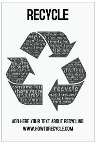 recycle poster template green environment black and white