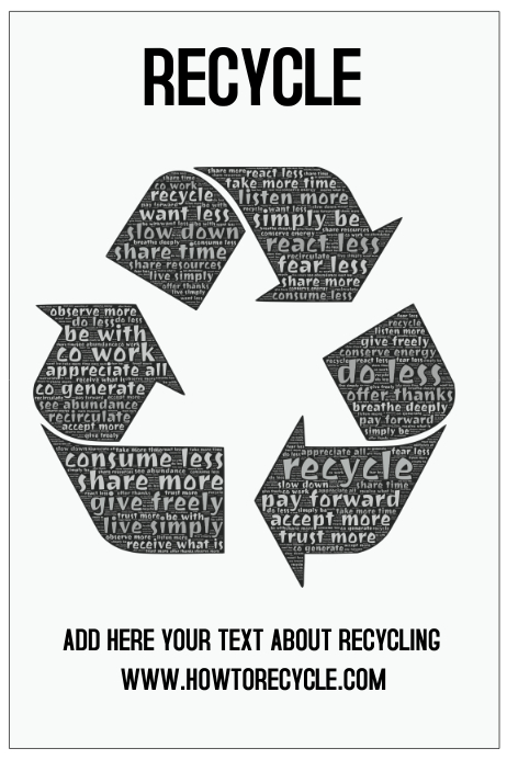 recycle poster template green environment black and white postermywall