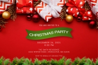 Red & Green Christmas Party Invitation Etiket template