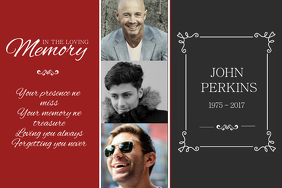 Red & Black In Loving Memory Poster Template