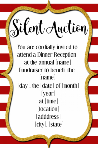 Red & Gold Silent Auction Holiday Christmas Party Invitation