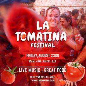 Red amd White La Tomatina Square Image