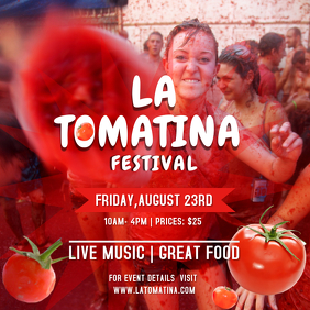 Red amd White La Tomatina Square Image