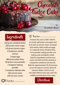 Red and Beige Recipe card A4 template