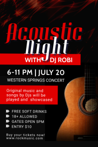 Red and black Acoustic Night Poster template