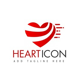 red and black and grey colors heart icon Logo template