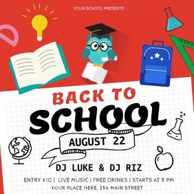 Red and Black Back to School Square Video