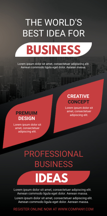 Red and Black Business Seminar Roll up Banner ป้ายโรลอัป 3' × 6' template