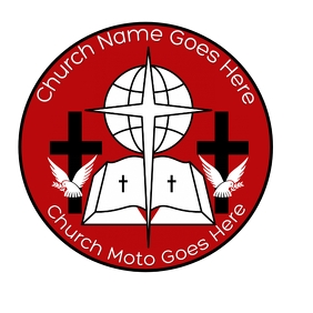 Red and black circle church logo