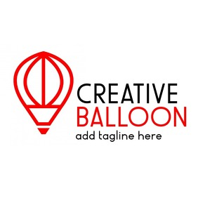 red and black creative balloon logo template