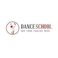 Red and black dance school icon logo template