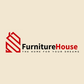 red and black furniture and real estate logo template