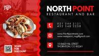 Red and Black Restaurant Business Card Design Visitenkarte template