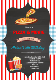 Red and blue gingham pizza movie Invitation A6 template