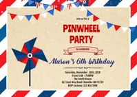 Red and blue pinwheel birthday invitation A6 template