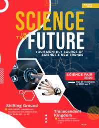 Red and Blue Science Magazine Cover Flyer Tem Pamflet (Letter AS) template