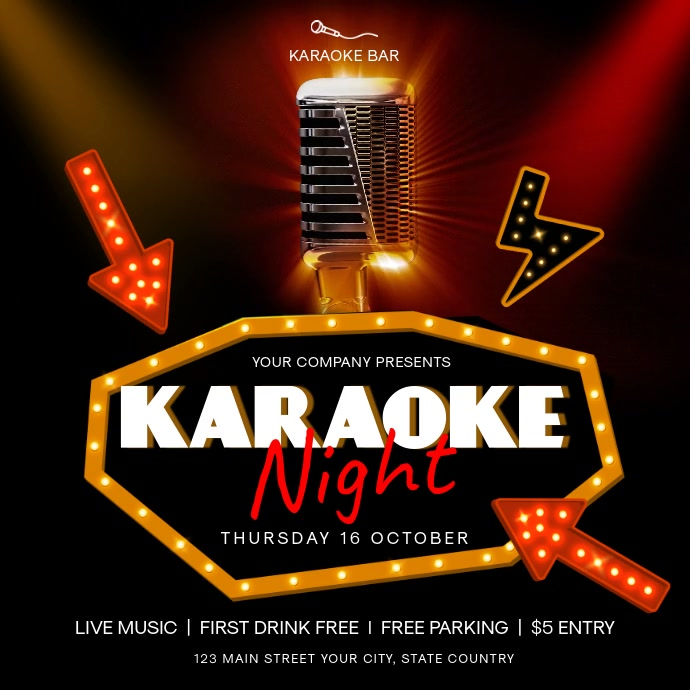 Red and Gold Karaoke Night Square Video