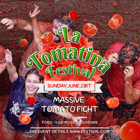 Red and Green La Tomatina Square Image