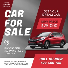 Red and Grey Car for Sale Ad Square Video