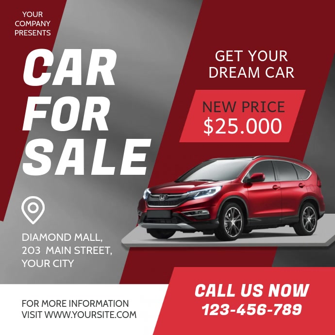 Red and Grey Car for Sale Ad Square Video 方形(1:1) template