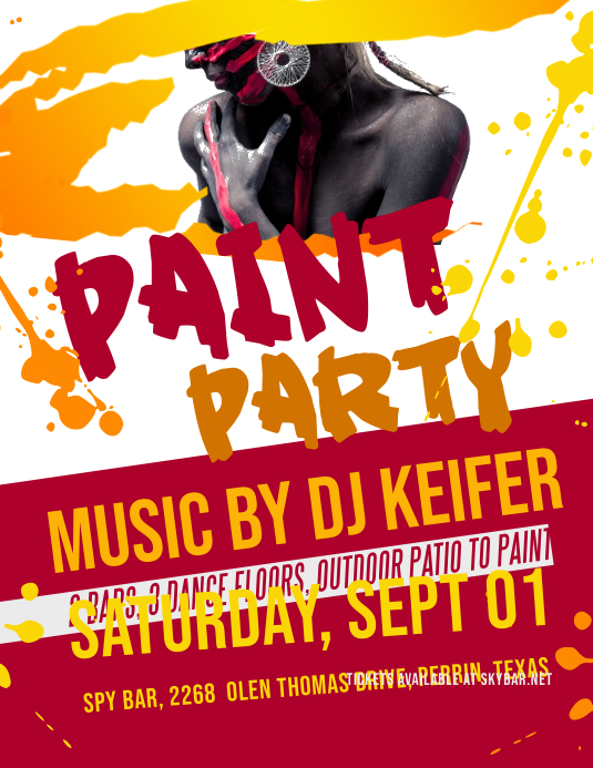 red and orange paint night party flyer template postermywall