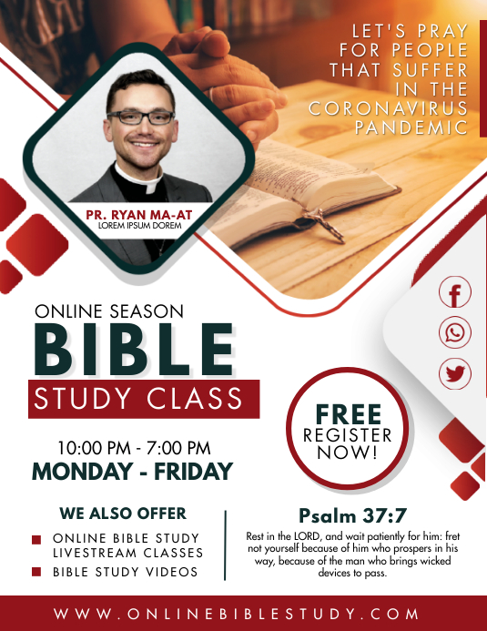 Red and White Bible Study Sessions Flyer 传单(美国信函) template