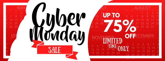 Red and White Cyber Monday Facebook Cover Photo template